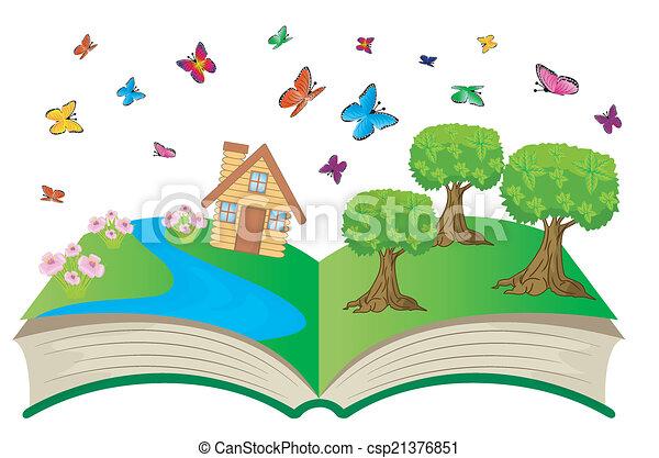 여름, 책, 열려라, 조경술을 써서 녹화하다 - csp21376851