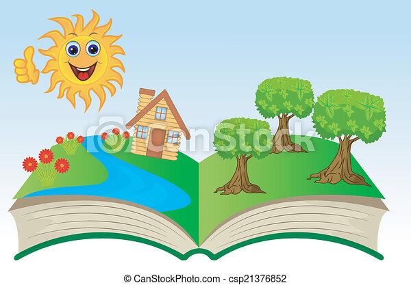 여름, 책, 열려라, 조경술을 써서 녹화하다 - csp21376852