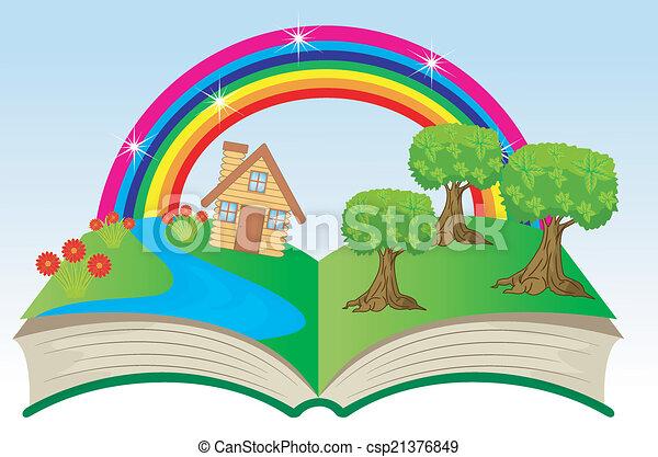 여름, 책, 열려라, 조경술을 써서 녹화하다 - csp21376849