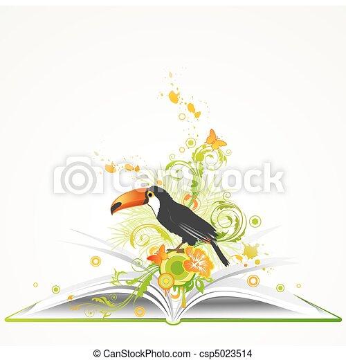 열대 꽃, 책, 열려라, 새 - csp5023514