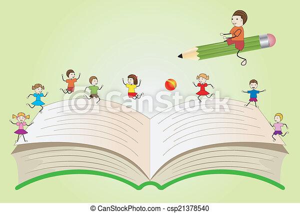 열려라, 아이들, 책, 노는 것 - csp21378540