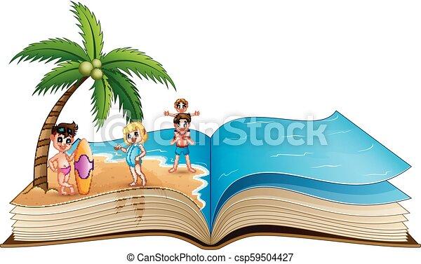 열려라, 열대적인, 책, 바닷가, 아이들, 행복하다 - csp59504427