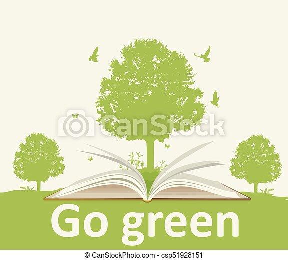 열린 책, 나무 조경 - csp51928151