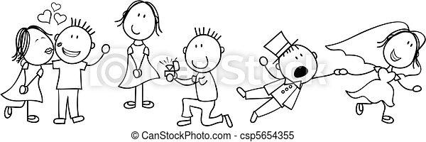 이야기, 결혼식, 판자, 만화 - csp5654355