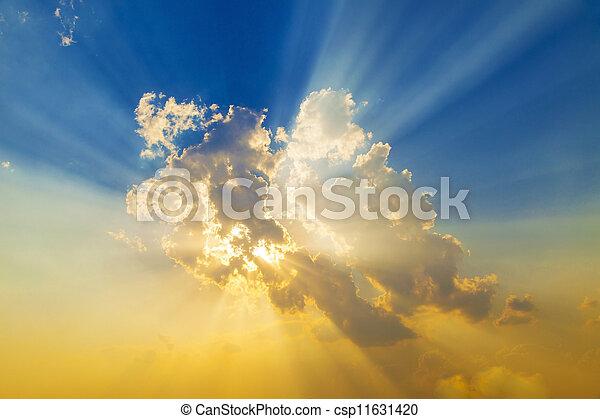 일몰, 태양 광선 - csp11631420