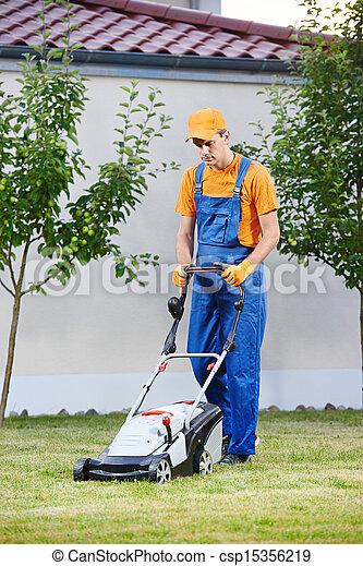 잔디, 노동자, 잔디 깎는 사람 - csp15356219