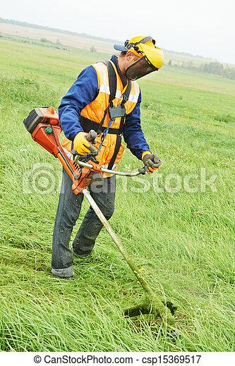 잔디, 노동자, 잔디 깎는 사람 - csp15369517