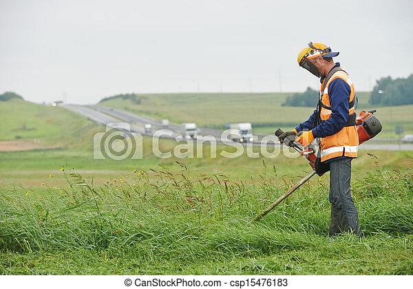 잔디, 노동자, 잔디 깎는 사람 - csp15476183