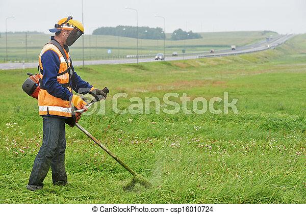 잔디, 노동자, 잔디 깎는 사람 - csp16010724