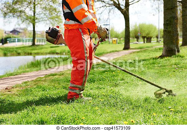 잔디, 노동자, 잔디 깎는 사람, 풀을 깎는 것, 남자 - csp41573109