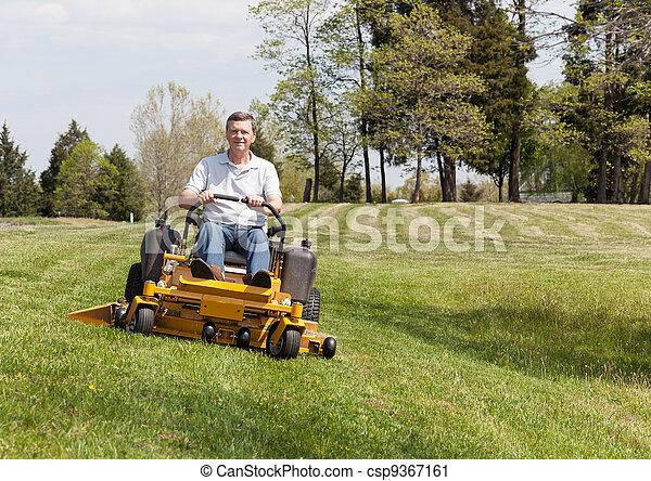 잔디 풀 베는 기계, 회전, 영, 잔디, 상급생 - csp9367161