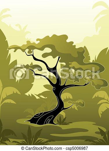 정글, 나무, 녹색 - csp5006987
