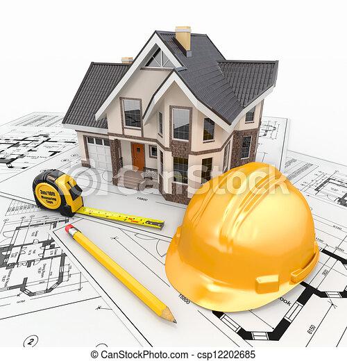주거다, 건축가, blueprints., 도구, 집 - csp12202685