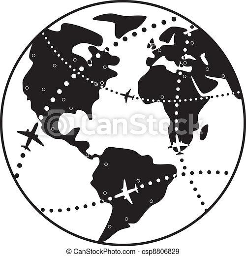 지구, 비행기, 위의, 지구, 비행, 벡터, 길 - csp8806829