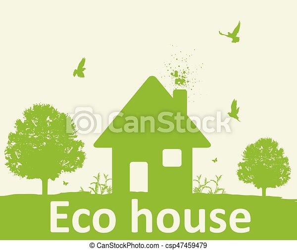 집, 나무, 녹색의 풍경 - csp47459479