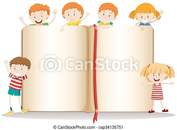 책, 디자인, 아이들, 행복하다 - csp34135751