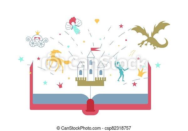 책, 열려라, fairytale, 이야기 - csp82318757