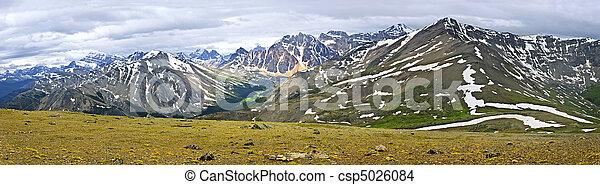 캐나다, 산, 바위가 많은, 파노라마, 국립 공원, 벽옥 - csp5026084
