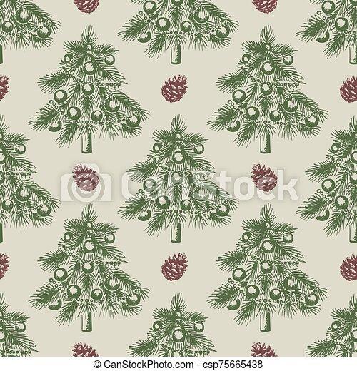 크리스마스, 패턴, 나무, 녹색 - csp75665438