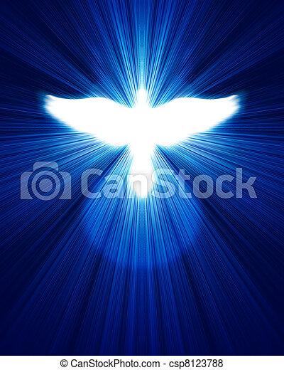 파랑, 백열하는 것, 광선, 비둘기, 향하여 - csp8123788