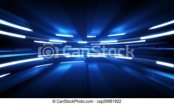 푸른 배경, 백열, 빛나는, 기술 - csp29981922