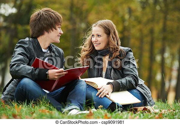 학생, 미소, 2, 나이 적은 편의, 옥외 - csp9091981
