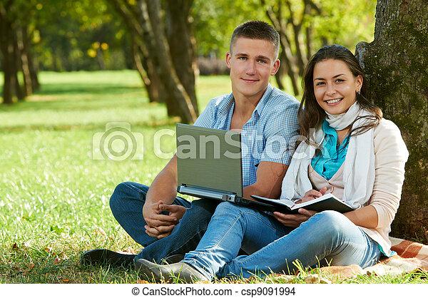 학생, 미소, 2, 나이 적은 편의, 옥외 - csp9091994