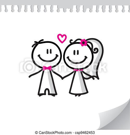 한 쌍, 만화, 결혼식 - csp9462453