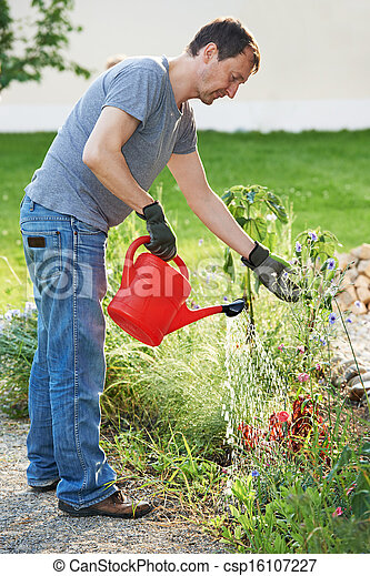 해수욕장의, 정원, 남자 - csp16107227