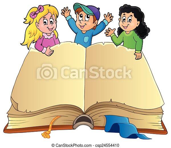 행복하다, 책, 열려라, 키드 구두 - csp24554410