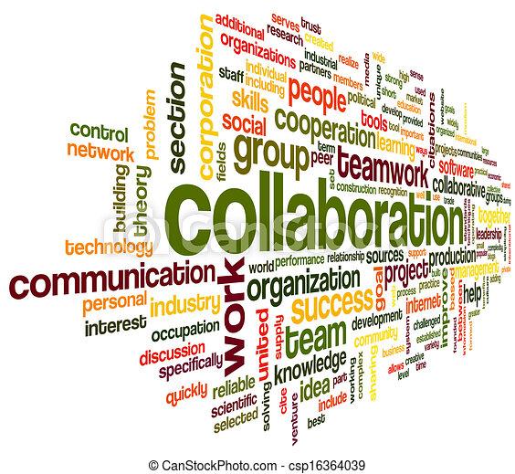 협력, 개념, 낱말, 구름, 꼬리표 - csp16364039