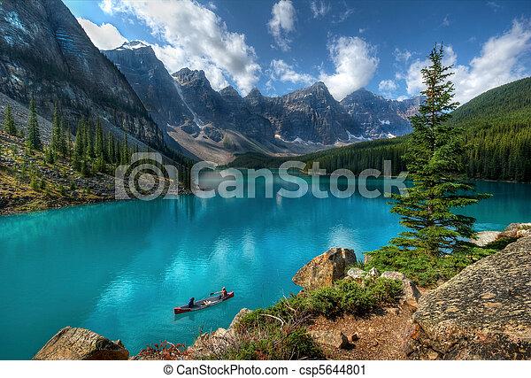 호수, 공원, 한 나라를 상징하는, banff, 빙퇴석 - csp5644801