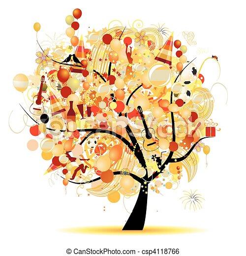 혼자서 젓는 길쭉한 보트, 나무, 상징, 휴일, 축하, 행복하다 - csp4118766
