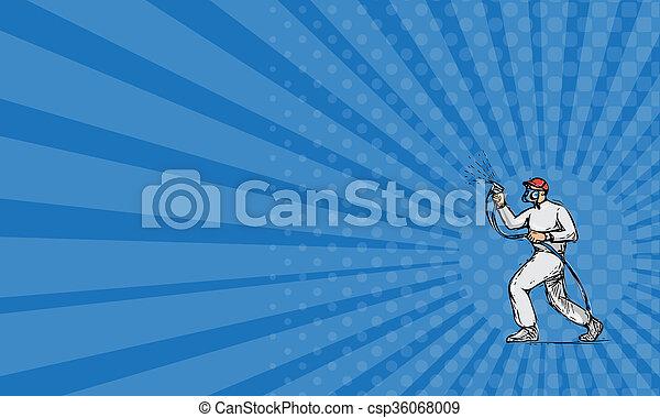화가, 물보라, 사업, 그림, 카드, 쪽, 그림 - csp36068009