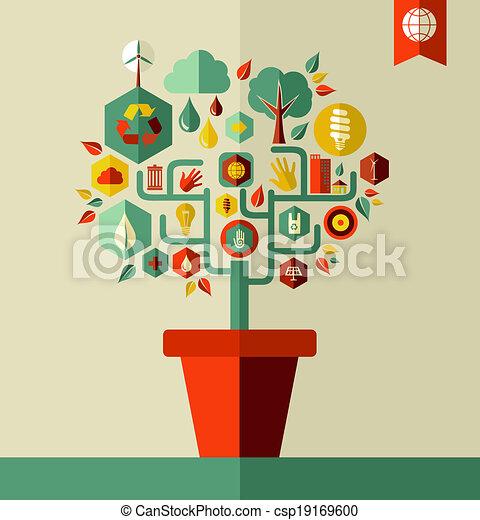 환경, 녹색, 개념, 나무 - csp19169600