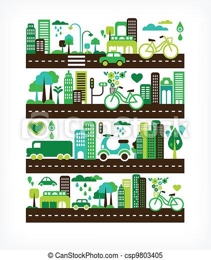 환경, 도시, 생태학, -, 녹색 - csp9803405
