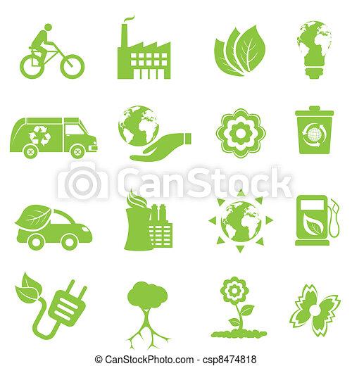 환경, 생태학, 아이콘 - csp8474818