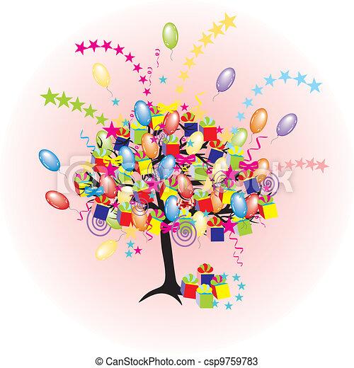 휴일, 파티, baloons, 사건, 만화, 나무, 행복하다, giftes, 상자 - csp9759783