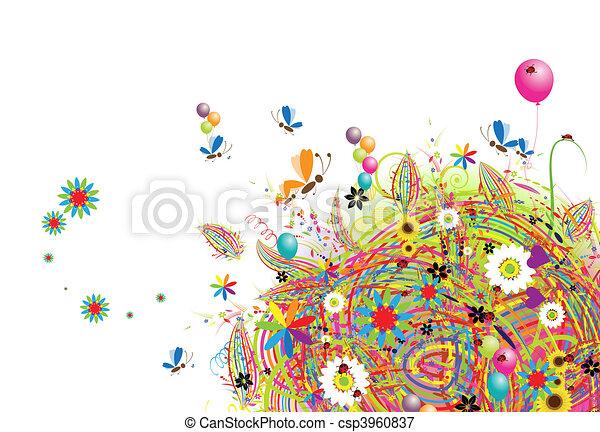 휴일, 혼자서 젓는 길쭉한 보트, 기구, 카드, 행복하다 - csp3960837