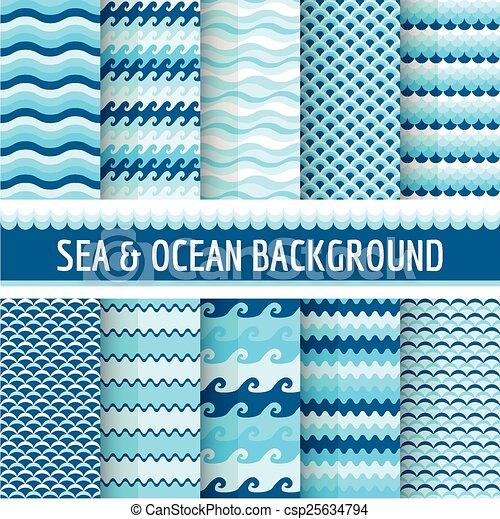 10, 항해의, seamless, 바다, 패턴 - csp25634794