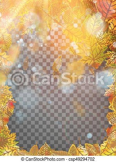 10, frame., 잎, eps, 가을, 벡터 - csp49294702