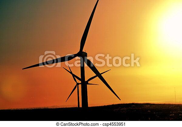alberta, 태양 눈총, 에, windfarm - csp4553951