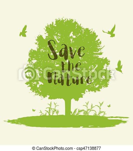birds., 녹색 나무 - csp47138877