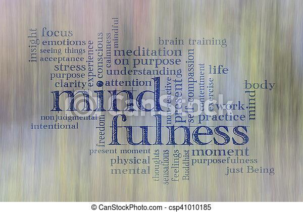 mindfulness, 구름, 낱말 - csp41010185