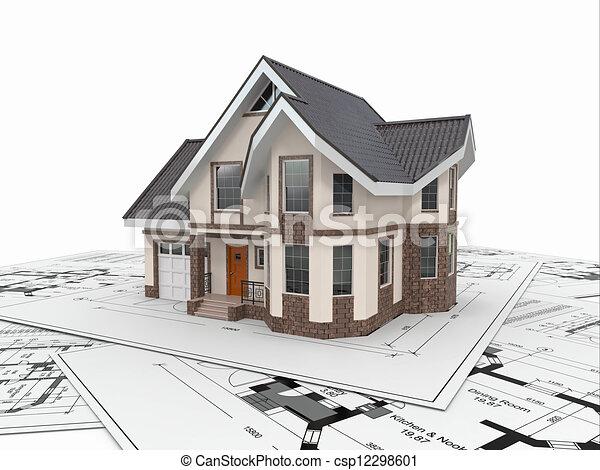 project., 주거다, 주택, 건축가, 집, blueprints. - csp12298601