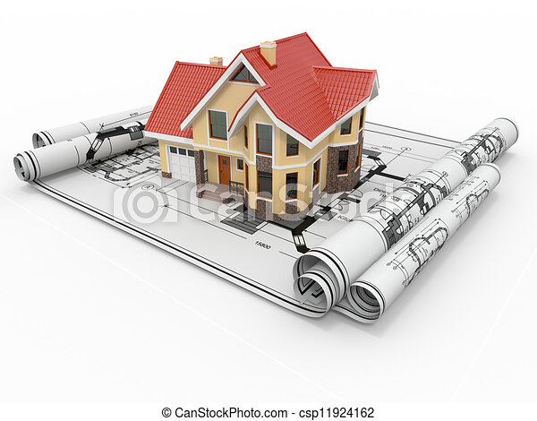 project., 주거다, 주택, 건축가, 집, blueprints. - csp11924162